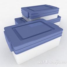 蓝白双色储物盒3d模型下载