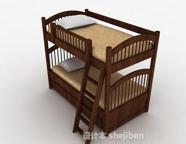 棕色上下层护栏单人床