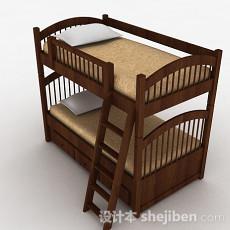 棕色上下层护栏单人床3d模型下载