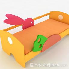 暖黄色单层儿童床3d模型下载