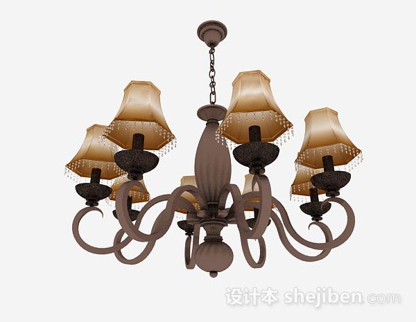 吊灯模型下载_欧式风格棕色金属吊灯3d模型下载-设计本3D模型下载
