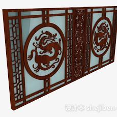 中式镂空雕花窗户3d模型下载
