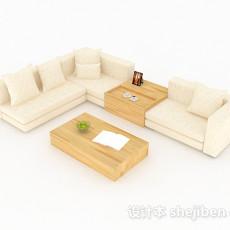 米黄色简约组合沙发3d模型下载