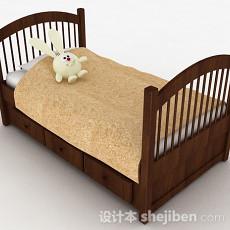棕色多功能单人床3d模型下载
