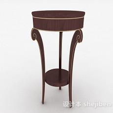 棕色圆形小餐桌3d模型下载
