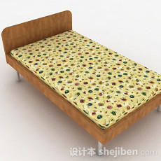 原木色花纹单人床3d模型下载