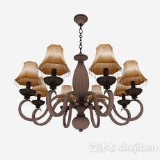 欧式风格棕色金属吊灯3d模型下载