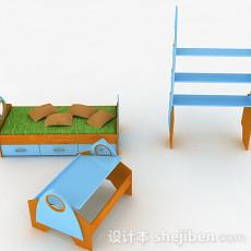 粉蓝色单人床3d模型下载