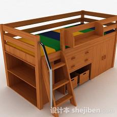 木质组合床3d模型下载