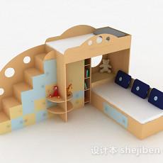 现代浅木色双层儿童床3d模型下载
