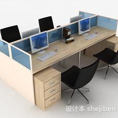浅木色办公室桌椅组合3d模型下载