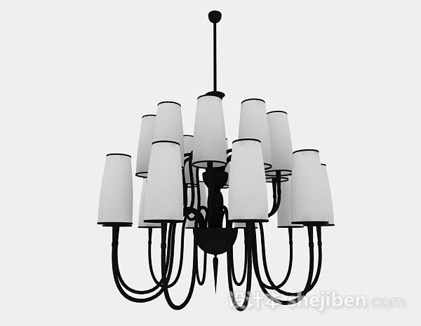 黑色欧式风格金属圆形2层吊灯