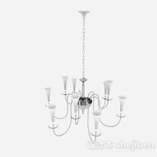 现代风格白色喇叭状吊灯3d模型下载