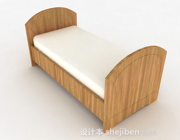 浅木色条纹单人床