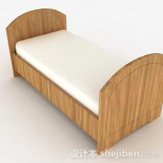 浅木色条纹单人床3d模型下载