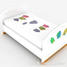 卡通图案白色单人床3d模型下载