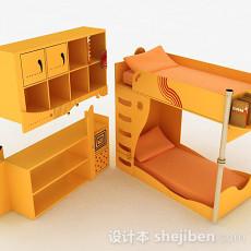 暖黄色组合上下层单人床3d模型下载