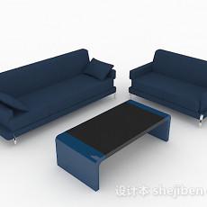 简约蓝色组合沙发3d模型下载