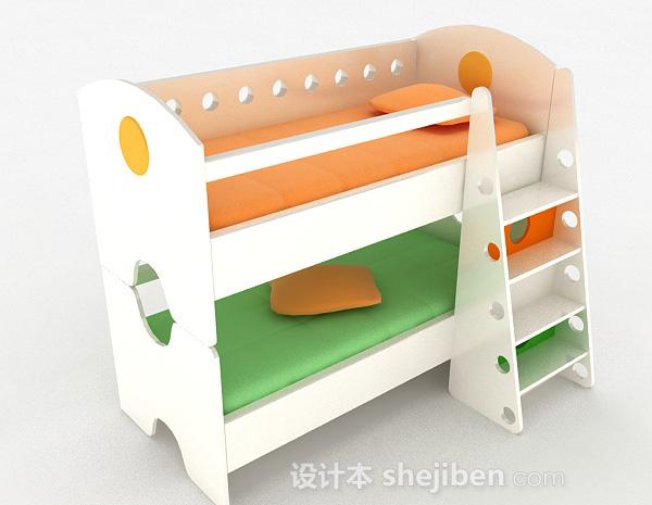白色上下层儿童床