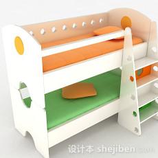 白色上下层儿童床3d模型下载