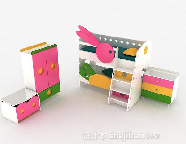多彩木质上下层组合儿童床