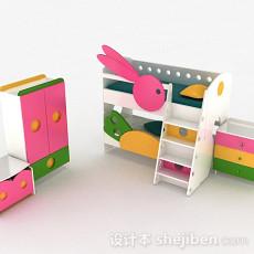 多彩木质上下层组合儿童床3d模型下载