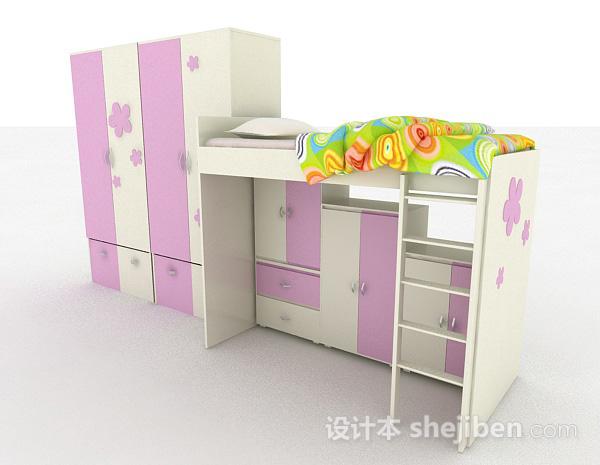 儿童紫色单人床