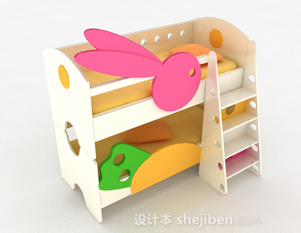 粉红色上下层儿童床