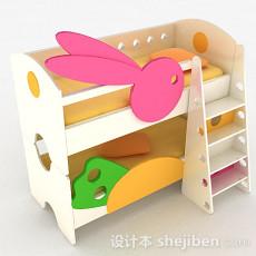 粉红色上下层儿童床3d模型下载