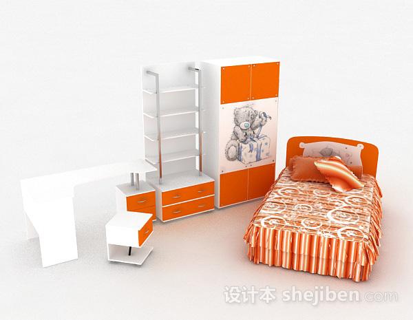 儿童橙色单人床
