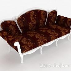 欧式布艺花纹沙发3d模型下载