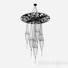 欧式黑色酒杯型吊灯3d模型下载