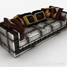 黑白双人沙发3d模型下载
