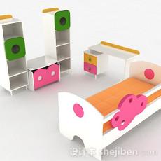 多彩木质组合儿童床3d模型下载