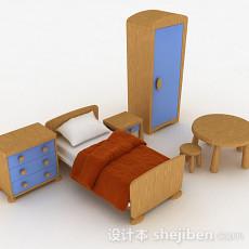 现代风组合单人床3d模型下载