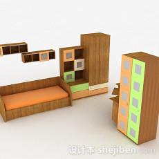 浅棕色组合床和衣柜3d模型下载