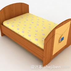 浅棕色木质单人床3d模型下载