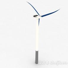 蓝色三叶电风扇3d模型下载