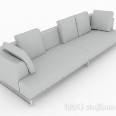 灰色简约多人沙发3d模型下载