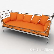 橙色多人沙发3d模型下载
