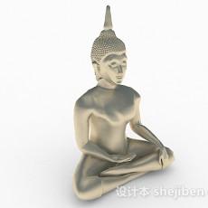 银色金属佛像摆件3d模型下载