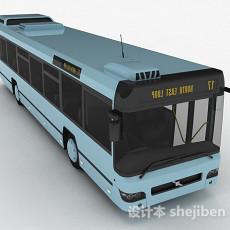粉蓝色巴士车3d模型下载