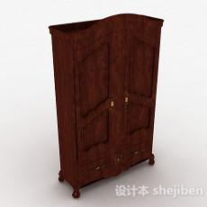 欧式原木双门衣柜3d模型下载