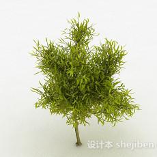 嫩黄色剑型树叶植物3d模型下载