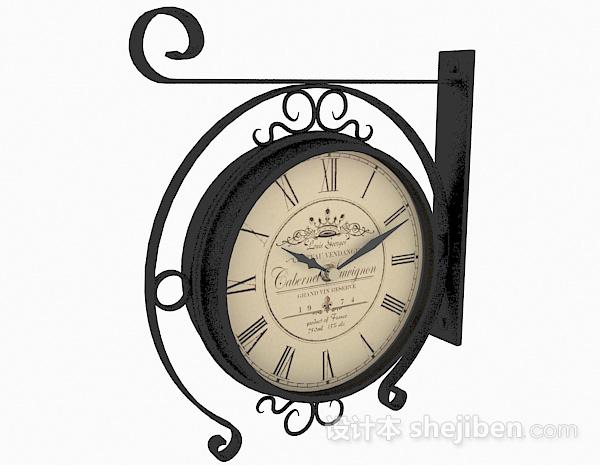欧式风格黑色金属时钟