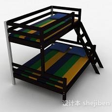 现代风格黑色双层木床3d模型下载