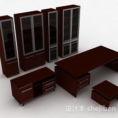 棕色木质组合家居柜3d模型下载