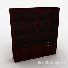 棕色木质四门展示柜3d模型下载
