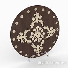 棕色圆盘生活摆件品3d模型下载
