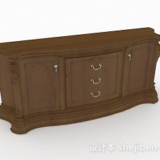 棕色木质厅柜3d模型下载
